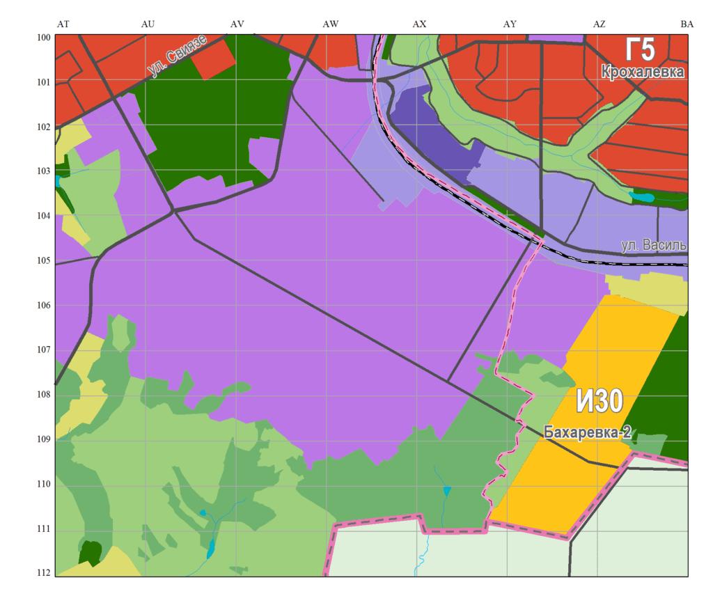 Территория, которую застрагивают изменения Генплана на Бахаревке